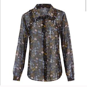CAbi 3593 Floret Blouse Black Floral Sheer Top